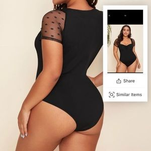 Mesh Sheer Sleeve Ruched Front bodysuit